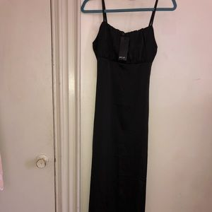 Black Ruched Bust Strappy Maxi Dress